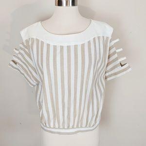 J.O.A. • Tan and White Stripe Tie Blouse